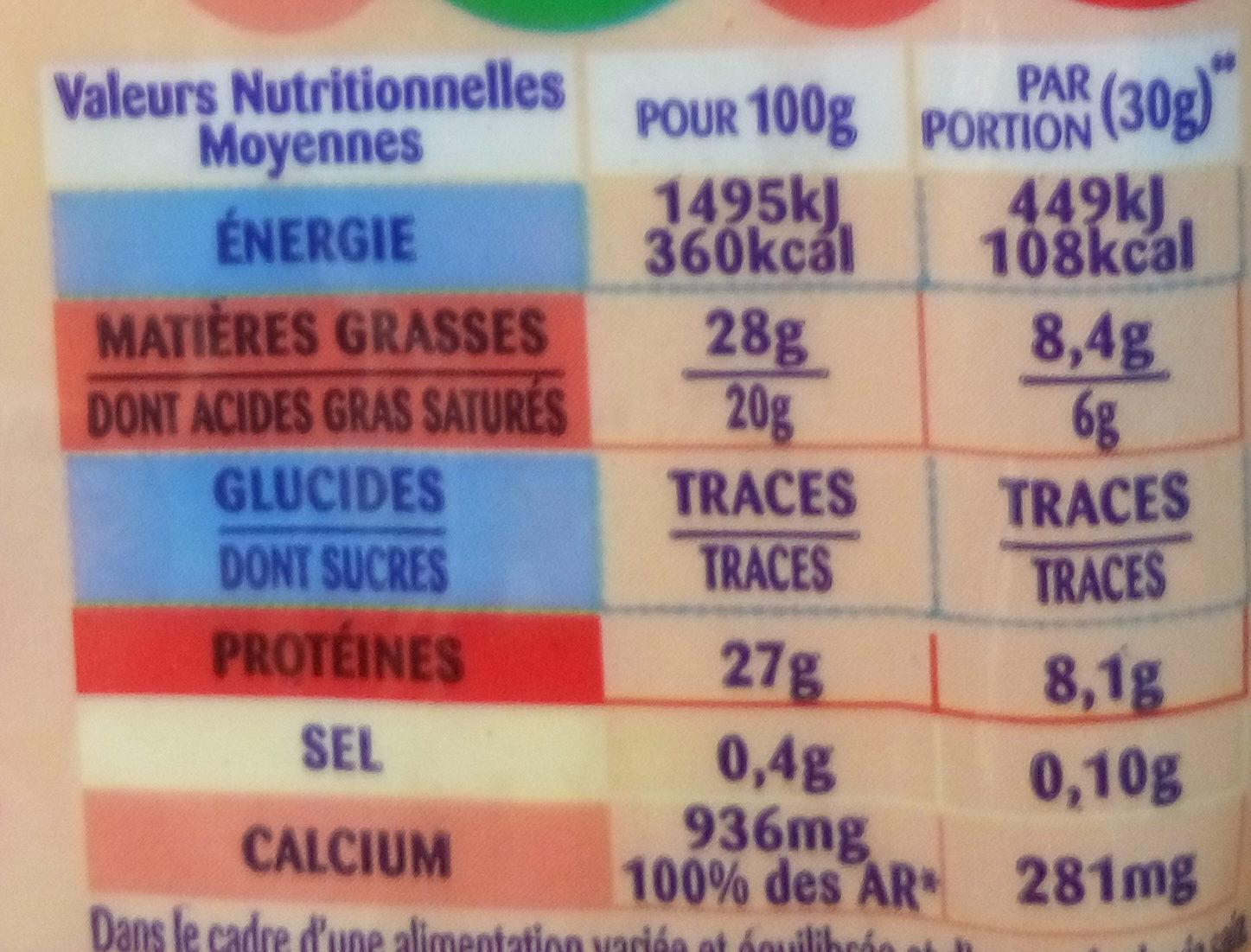 Emmental Grand Affiné - Informations nutritionnelles - fr