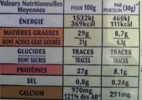 Emmental Râpé Fondant (29% MG) - Informations nutritionnelles - fr