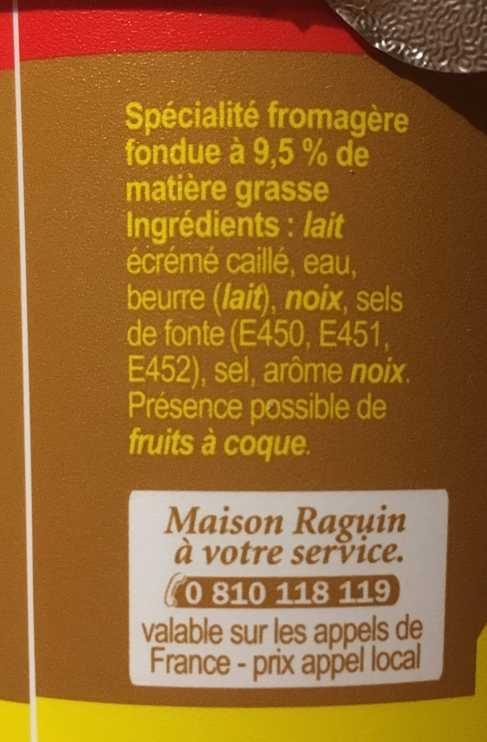 Cancoillotte noix - Ingredients