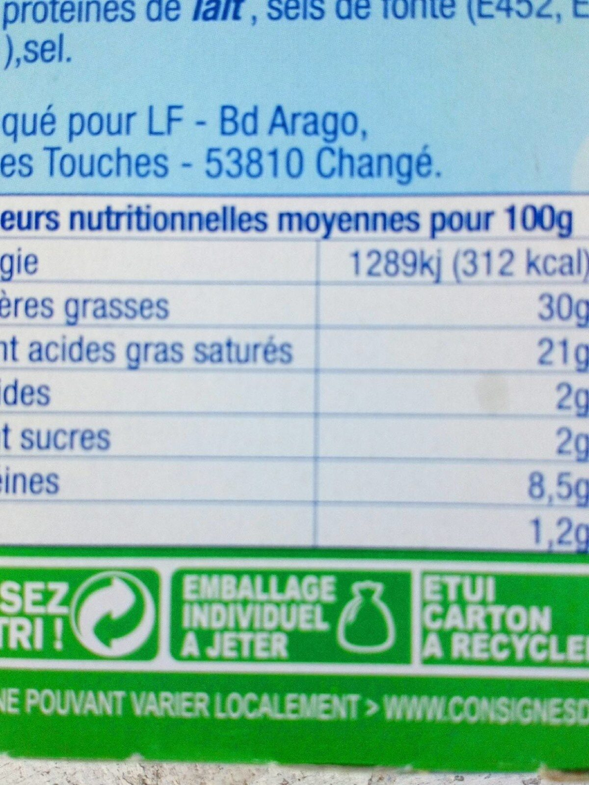 Vache grosjean - Informations nutritionnelles - fr