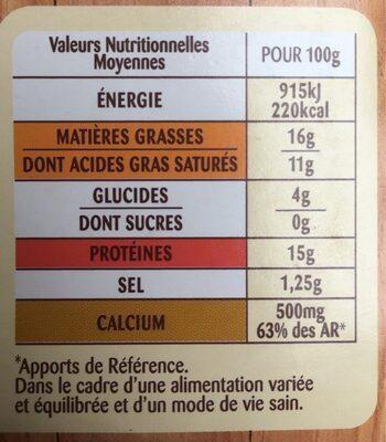 Fondue aux trois fromages - Nutrition facts