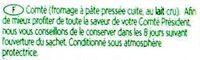 Comté Le Montarlier - Ingrédients - fr