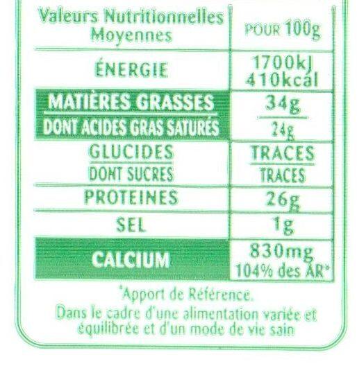 Comté Le Montarlier - Informations nutritionnelles - fr