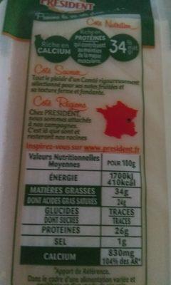 Comté Le Montarlier - Informació nutricional