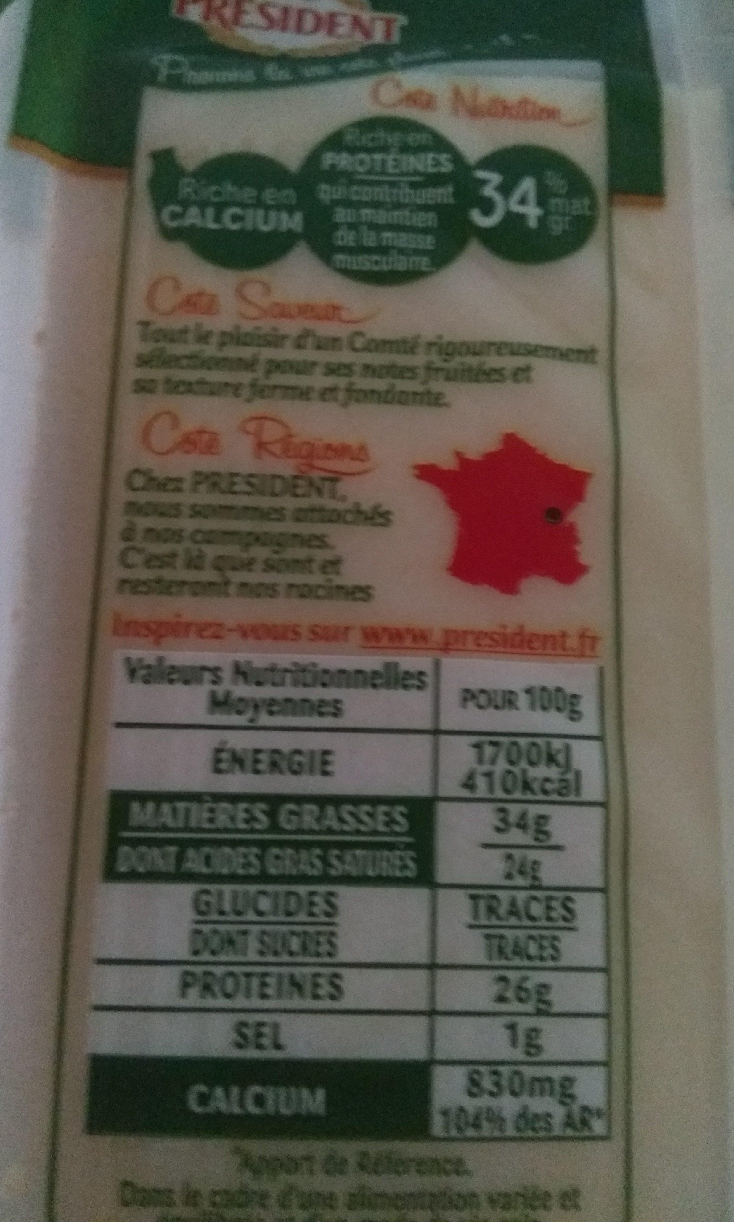 Comté Le Montarlier - Informations nutritionnelles