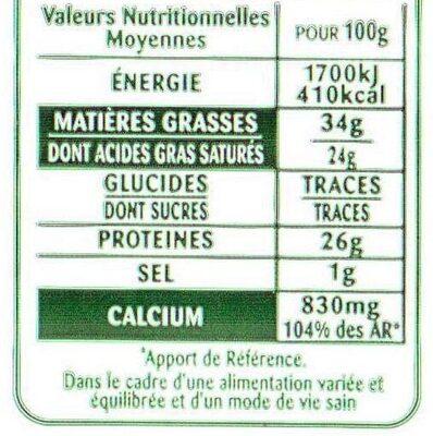 Comté Le Montarlier Affiné 6 mois - Nutrition facts