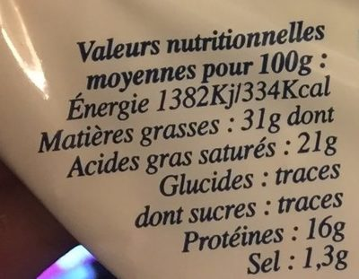Petit brie - Nutrition facts