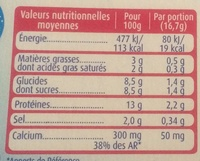 Bridelight 3% Les carrés fondants goût Emmental - Voedigswaarden