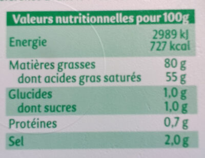 Motte tendre Demi-sel - Informations nutritionnelles - fr