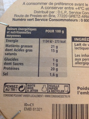 Camembert, le Vieux Colombier (20 % MG) - Nutrition facts - fr