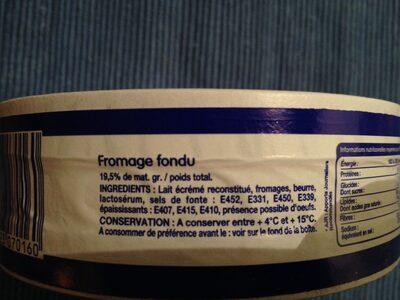 Fromage fondu à tartiner 16 Portions (19,5 % MG) - Ingrédients