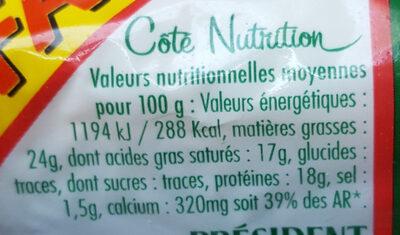 La Bûche Fondante - Format Familial - Nutrition facts