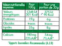 La Bûche Fondante - Format Familial - Informations nutritionnelles