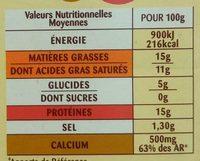 La Fondue aux 3 fromages - Informations nutritionnelles - fr