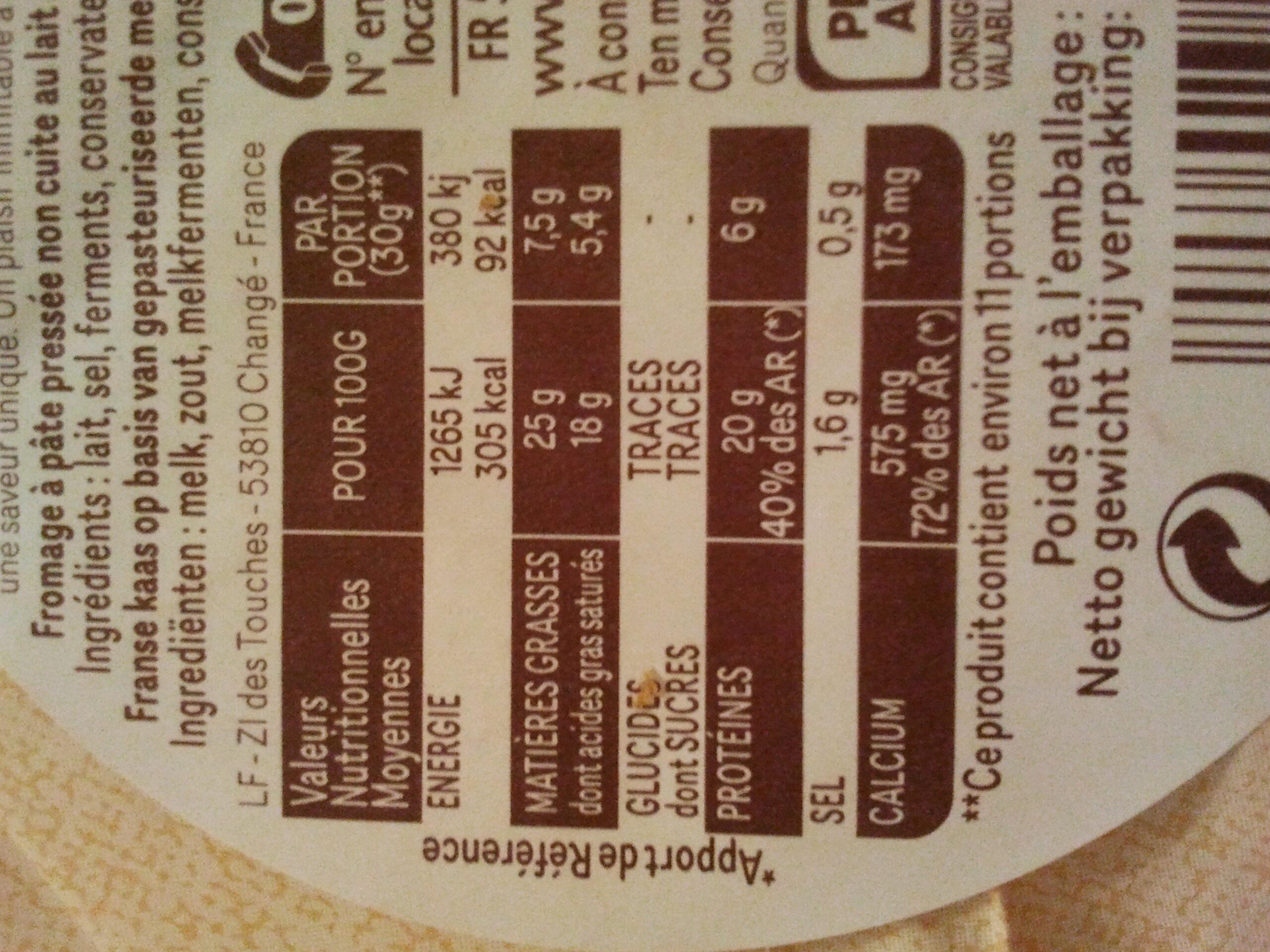Chaussée aux Moines (25 % MG) - Informations nutritionnelles