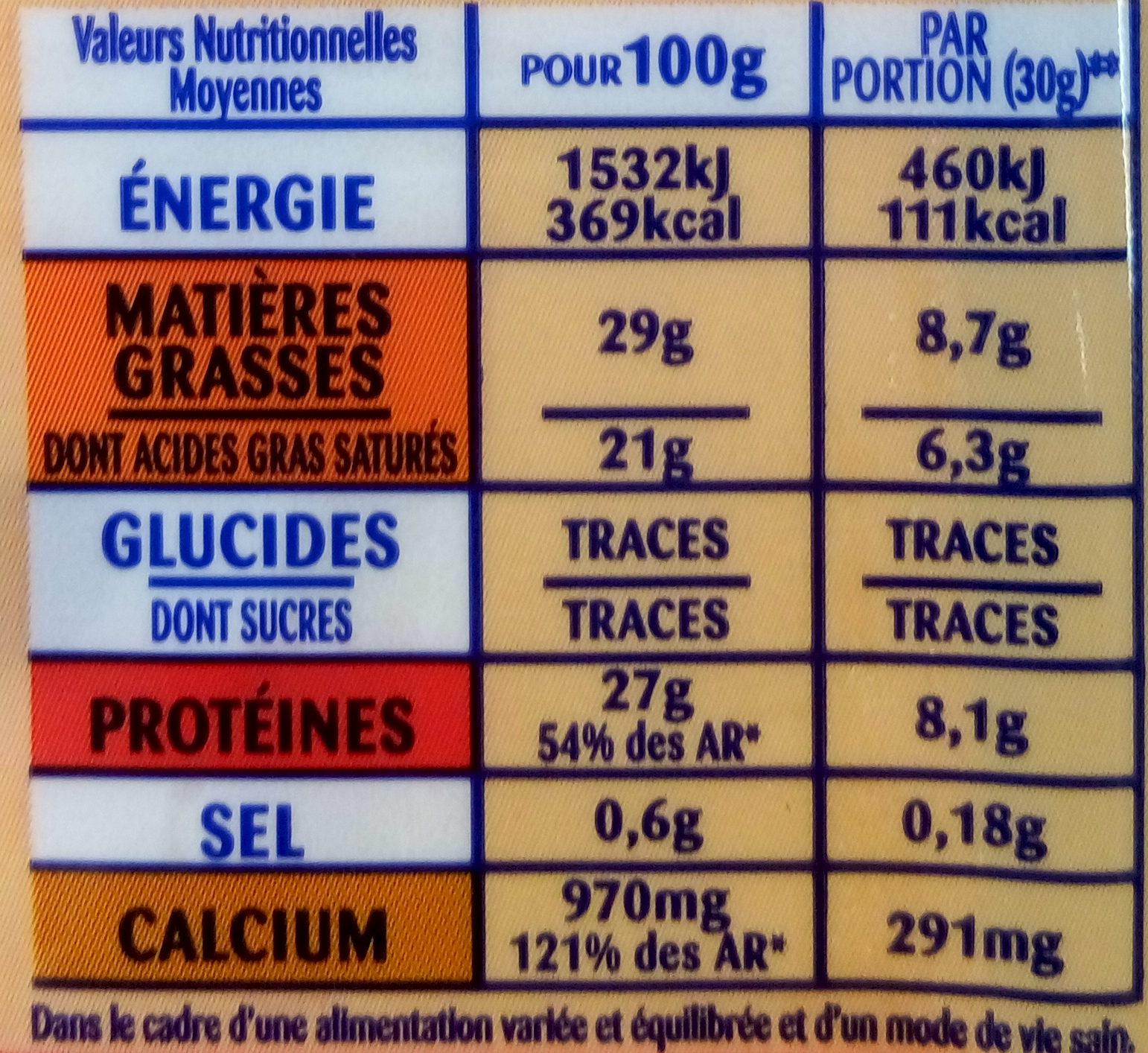 Emmental Cœur de meule - Nutrition facts