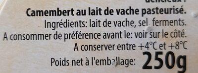 Camembert l'intense - Ingrédients - fr