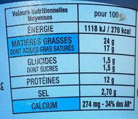 La crème au bleu - Nutrition facts - fr