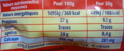 Emmental Cœur de Meule (28 % MG) - Informations nutritionnelles - fr