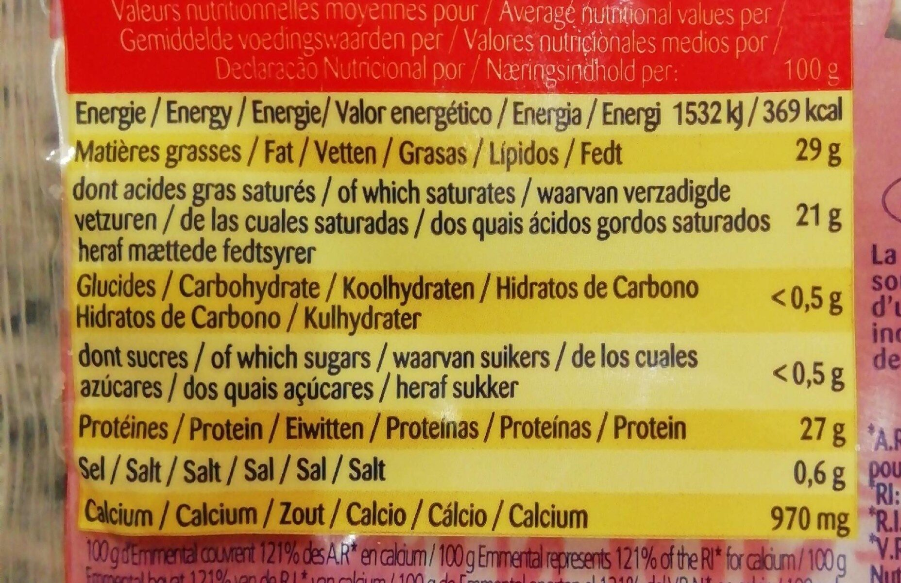 Queso Emmental - Información nutricional - fr
