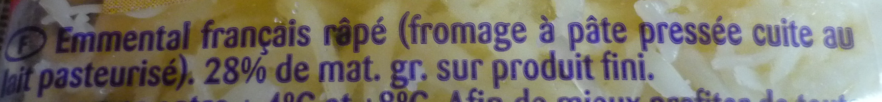 Emmental Râpé Fondant (29 % MG) - Ingredients