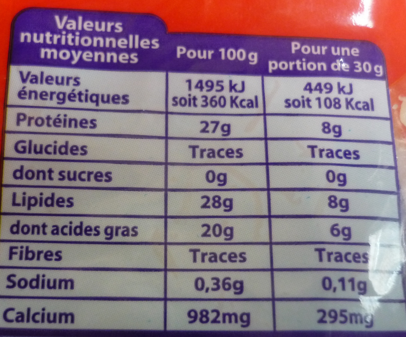 Emmental Râpé Fondant (29 % MG) - Nutrition facts