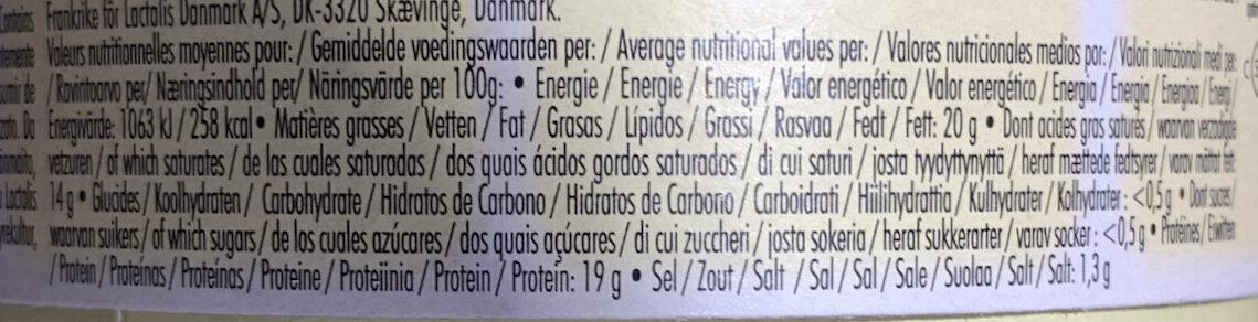 Camembert - 栄養成分表 - ja
