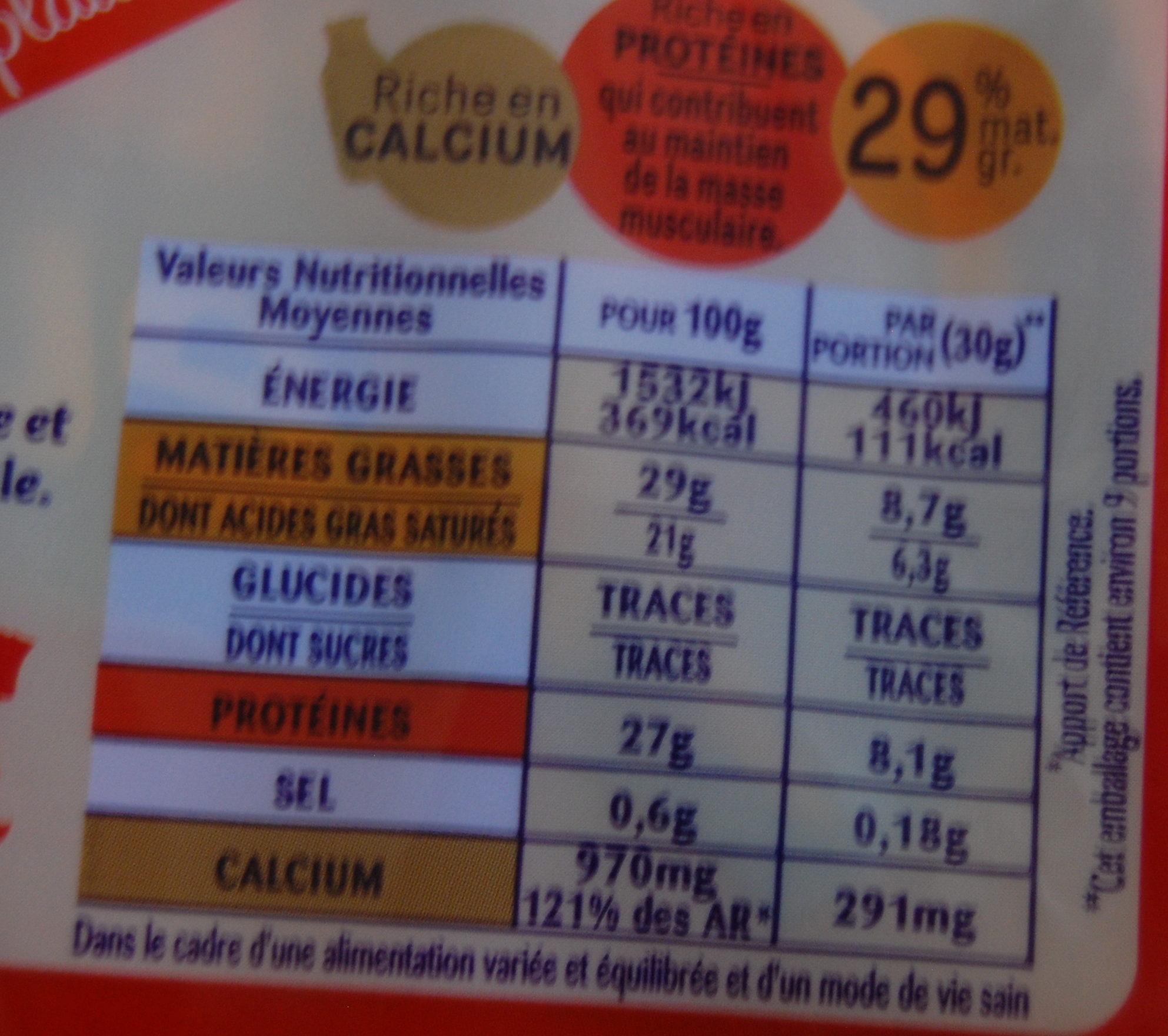 Emmental Coeur de Meule (28 % MG) + 10 % Gratuit - Informations nutritionnelles - fr