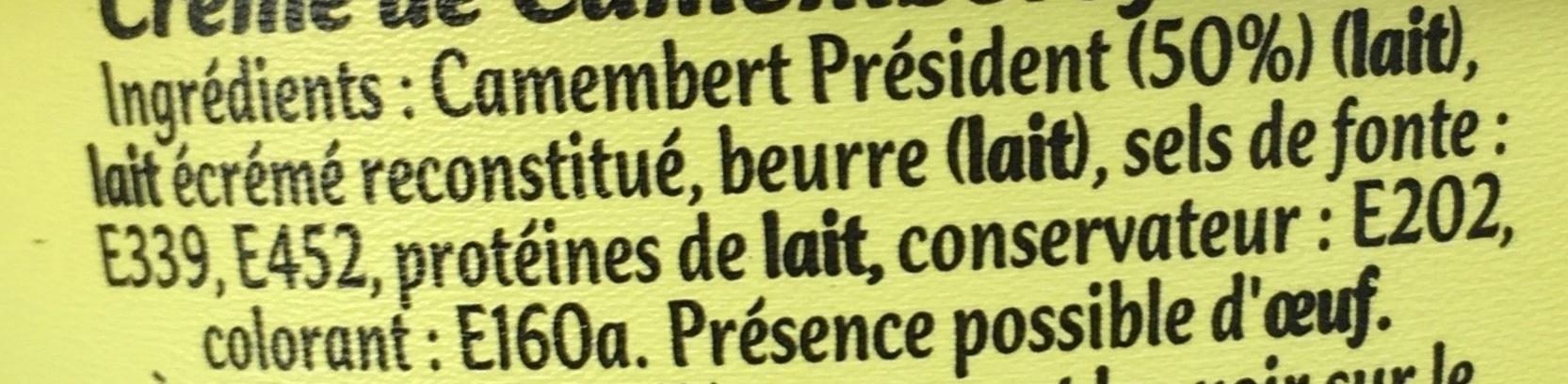 Crème de camembert à tartiner - Ingrédients - fr