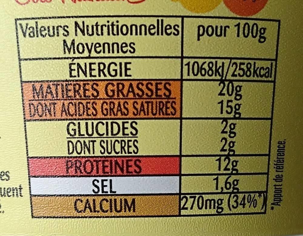 Crème de camembert à tartiner - Informations nutritionnelles - fr