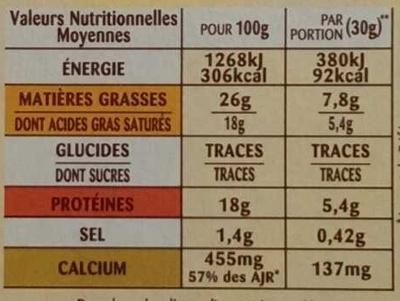 The brick a fine crust and a unique fondant - Nutrition facts