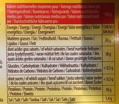 La Brique Fondante - Información nutricional
