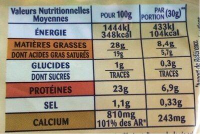 Le 3 Saveurs (Tomme de Caractère, Emmental, Mozzarella 28 % MG - Informations nutritionnelles - fr