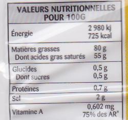 Beurre gastronomique demi sel 80% Mat. Gr. - Informations nutritionnelles - fr