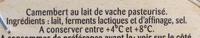 Camembert (21 % MG) Offre Économique - Ingrédients