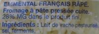 Emmental Râpé (28 % MG) - Ingrédients - fr