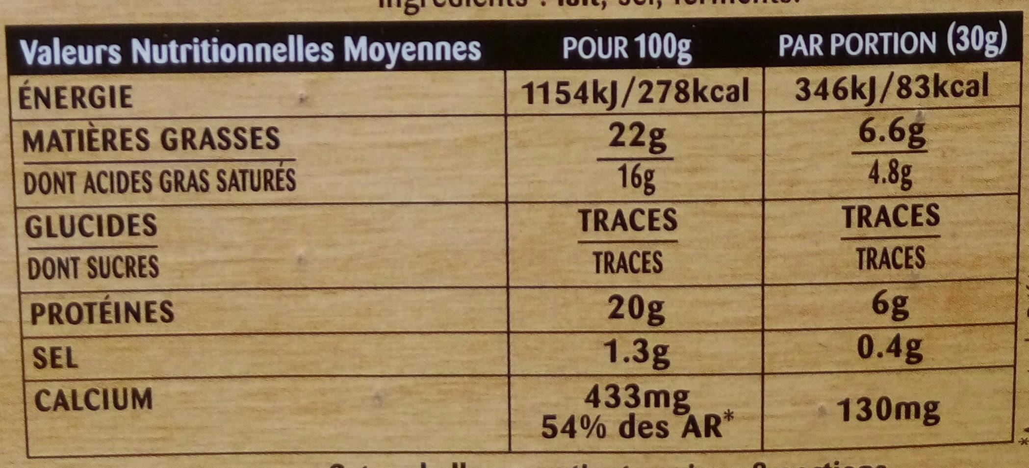 Camembert de Campagne - Informations nutritionnelles - fr