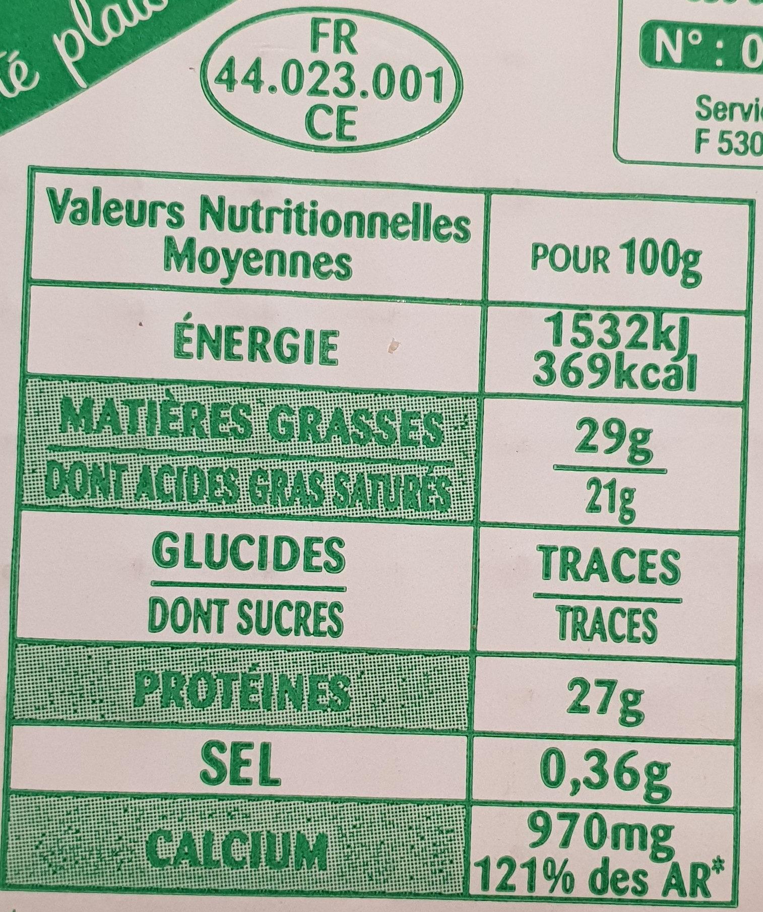 Coeur de meule Sel réduit de 30% - Nutrition facts