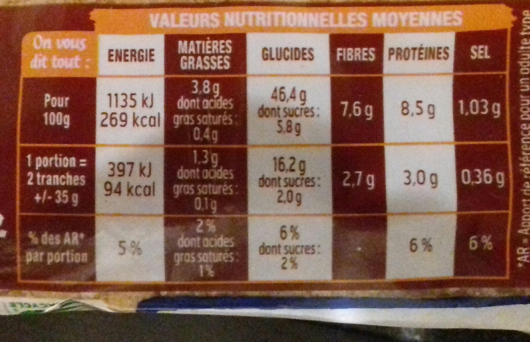 Harrys pain de mie extra moelleux complet - Valori nutrizionali - fr