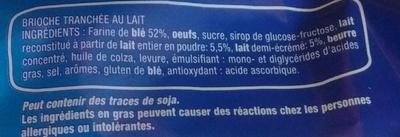 Brioche tranchée au lait - Ingrédients - fr