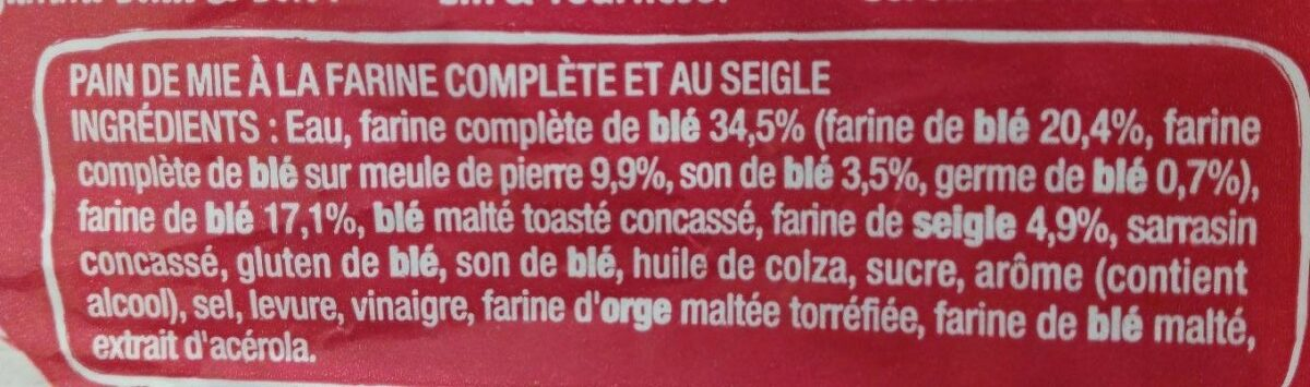 Pain de mie Complet & Seigle - Ingredienti - fr
