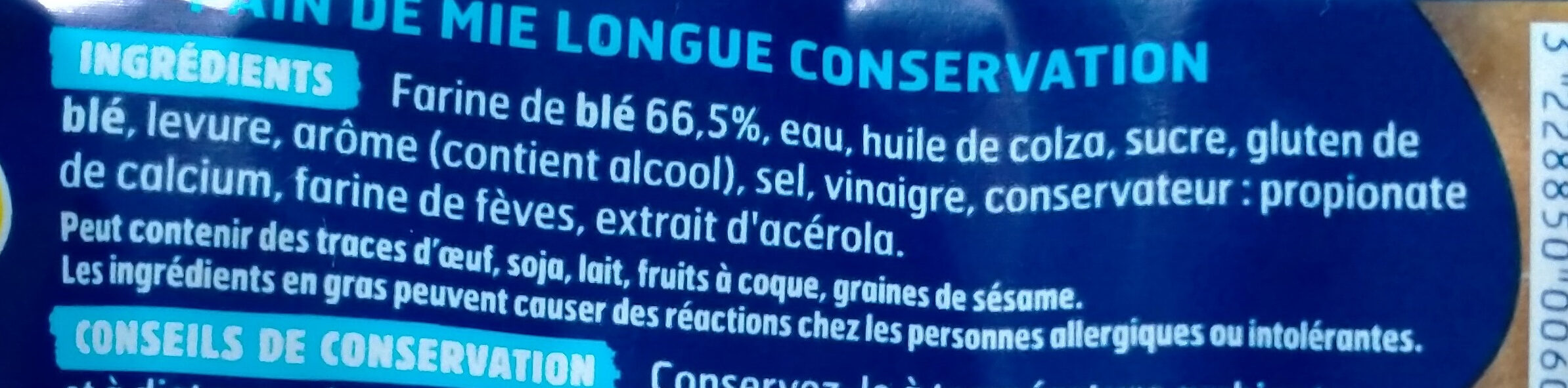 Harrys pain de mie longue conservation nature - Ingredients - fr