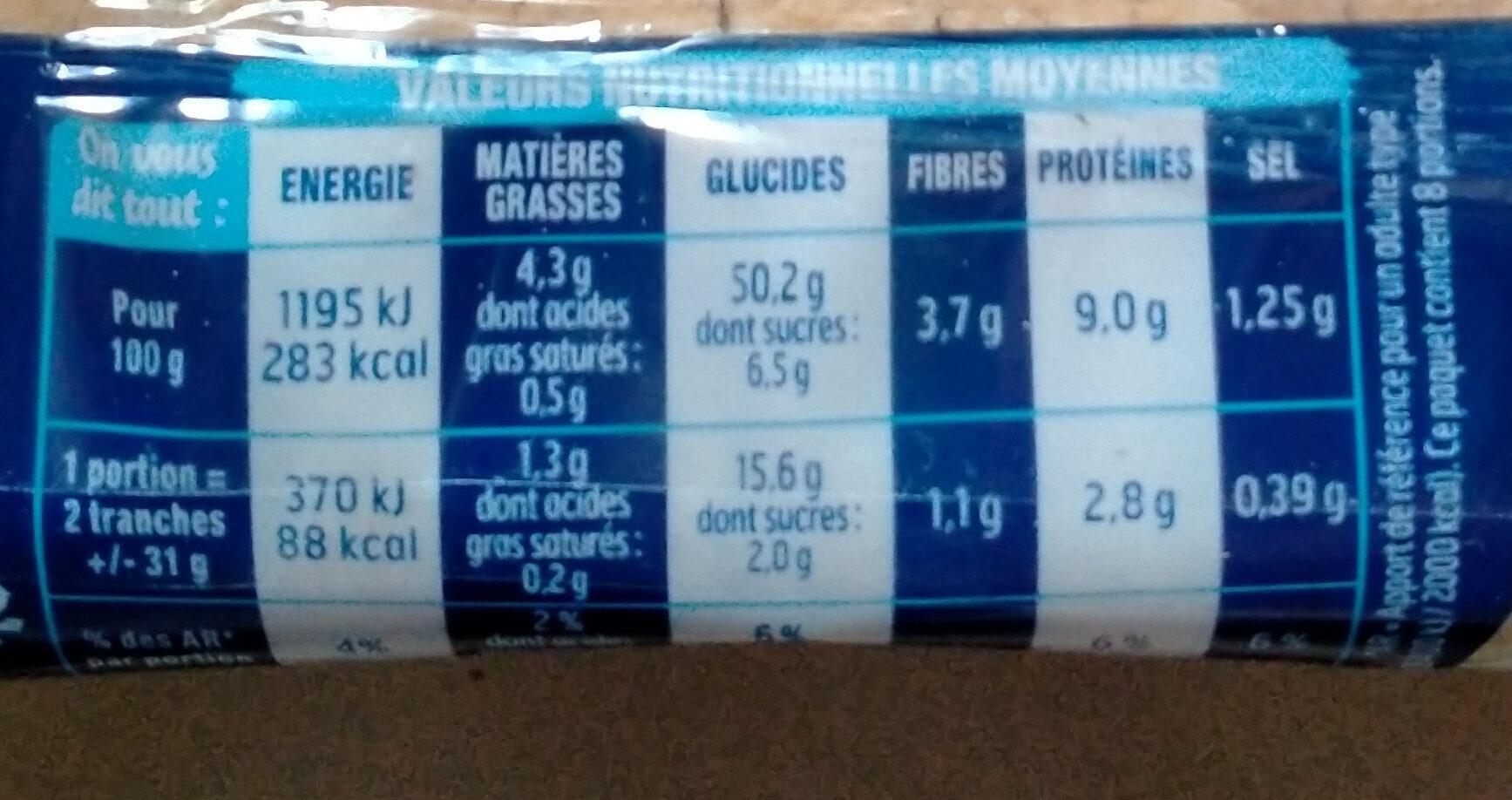 Harrys pain de mie longue conservation nature - Nutrition facts - fr
