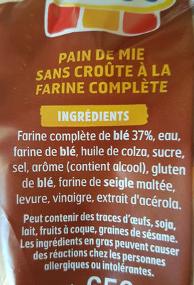 Harrys 100% mie pain de mie sans croute complet maxi - Ingredients - fr