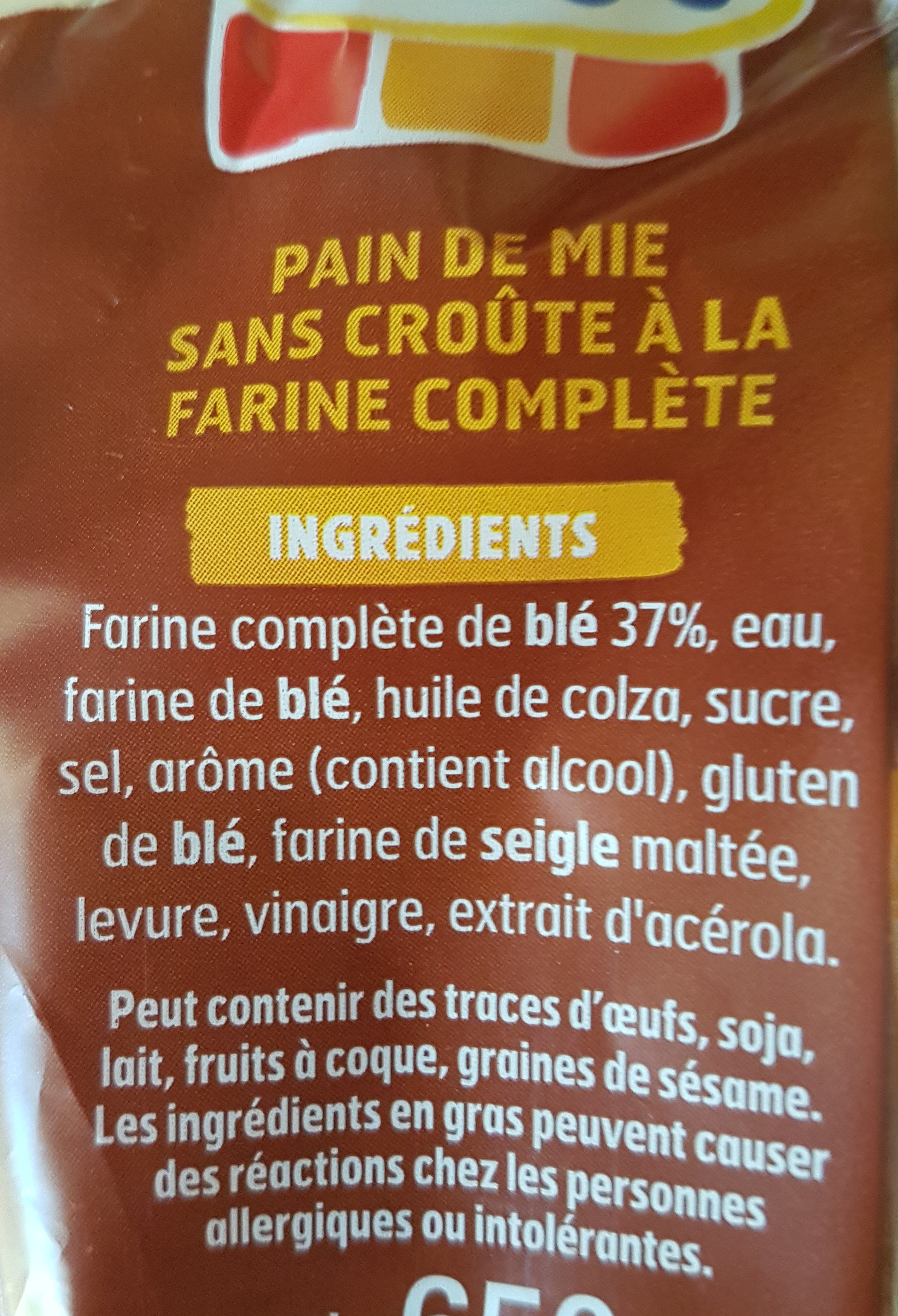 Pain 100% mie complet - Ingredients - fr
