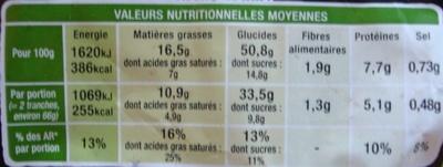 Beau & Bon Brioche tranchée - Eclats de chocolat au lait praliné - Nutrition facts - fr