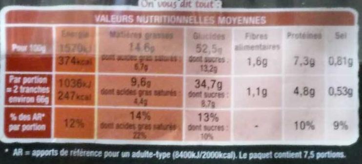 Beau & Bon Spéculoos - Nutrition facts - fr