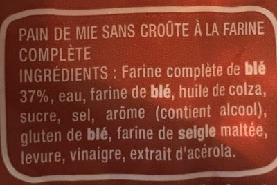 Pain 100% mie complet +6tranches - Ingredienti - fr