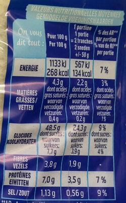 Pain 100% mie nature PT - Informations nutritionnelles - fr
