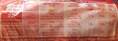 Harrys le moment burger pavot sarrasin x4 - Valori nutrizionali - fr